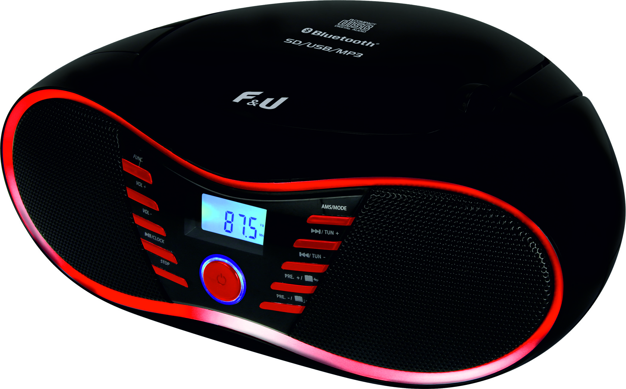 F&U RCD9043BT Φορητό Ραδιο-CD με Bluetooth/USB/Card Reader